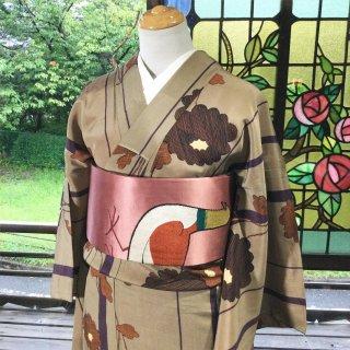 やゝK‐129*ストライプに菊模様モダン小紋/アンティーク着物