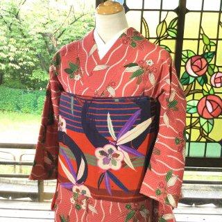 やゝK‐130*綸子立涌に笹柄 くすみピンク小紋/アンティーク着物