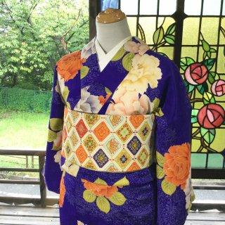 やゝK‐131*大胆なバラ模様小紋/アンティーク着物
