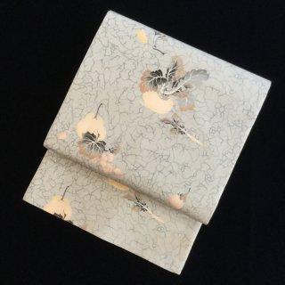 円窓O-481*乙女な淡さ♪珍しい秋の白藍色/アンティーク名古屋帯