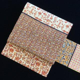 円窓O-484*個性的に♪柄見本で作った帯/アンティーク名古屋帯