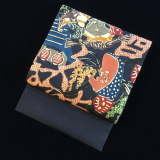 円窓O-494*酉の市縁起熊手・型染/リユース名古屋帯