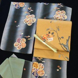 円窓K-523*四季の文様が詰まったねじ梅/アンティーク小紋