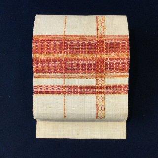 やゝO‐136*凹凸のある糸で織った真綿紬*名古屋帯リユース