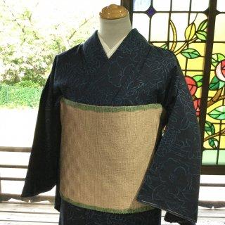 やゝK‐150*真綿紬に手描き花模様・未使用品/着物リユース