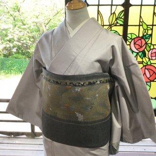 やゝK‐151*グレー地が綺麗・細かな型染め染大島紬附下/着物リユース