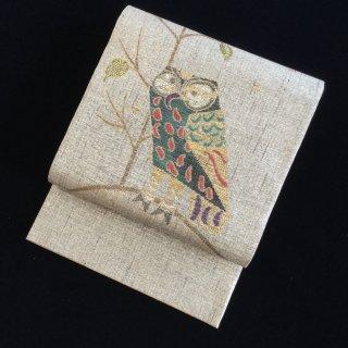 円窓O-497*神秘の鳥フクロウ(未使用品)/リユース袋帯