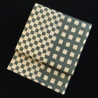円窓O-499*リバーシブル!市松格子&波(未使用品)/リユース袋帯