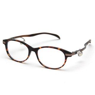 オーバルタイプ度付きメガネ(DEMI BROWN)