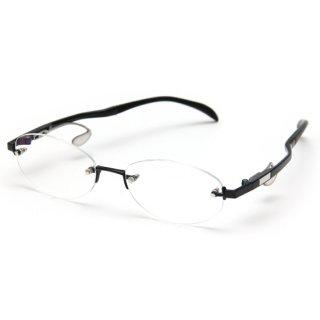 フレームレスタイプ度付きメガネ(BLACK)
