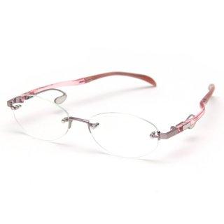 フレームレスタイプ度付きメガネ(PINK)