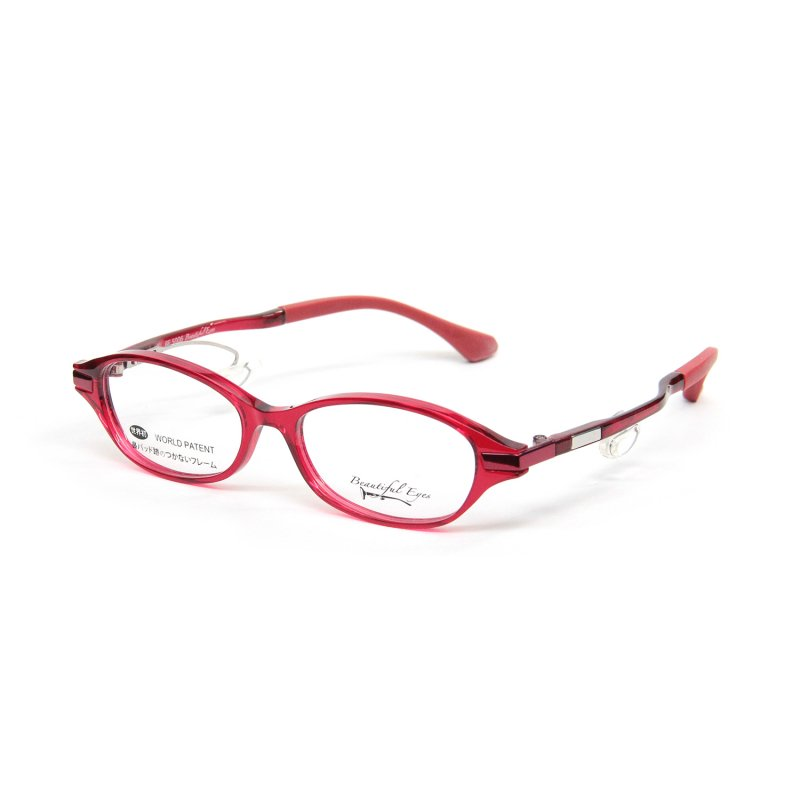 オーバルSタイプ度付きメガネ(RED)