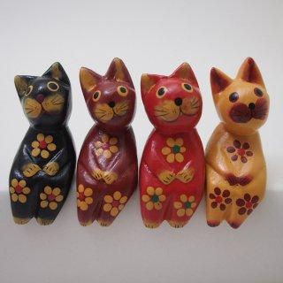 ミニお座り花柄ネコ(渋い色)