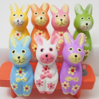 ミニお座り花柄ウサギ(パステル)