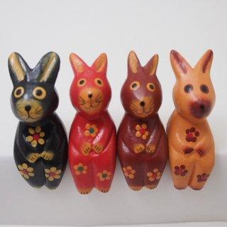 ミニお座り花柄ウサギ(渋い色)