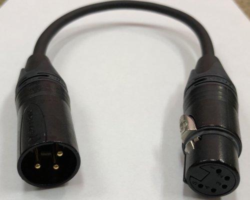 DMX 変換ケーブル 0.3m (オスNC3MXB−メス5FXB)