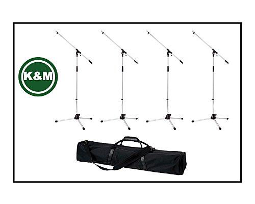 K&M まとめ買い!マイクスタンド シルバー(ST-210/2C)×4本 & 4本入るバッグ (K&M210C編)
