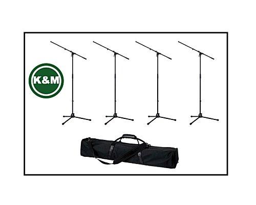 K&M まとめ買い!マイクスタンド ブラック(ST-210/2B)×4本 & 4本入るバッグ (K&M210B編)