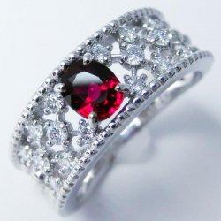 Pt900 ピジョンブラッドカラールビー H&Cダイヤモンドリング エクセルオリジナルジュエリー R 0.60ct D 0.34ct