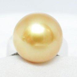 Pt900 オーロラムーンレインボー ゴールデンパール ダイヤモンドリング P 13.0mm D 0.19ct