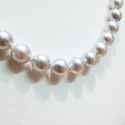 SV 無調色ナチュラルブルーあこや真珠 ネックレス 6.5-7.0mm 42cm