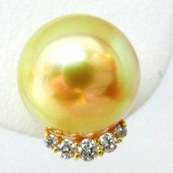 K18YG オーロラ茶金 南洋ゴールデンパール ダイヤモンドピアス P 10.2mm D 0.14ct