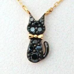 黒猫 ブラックダイヤモンド リバーシブルネックレス D 0.09ct K18YG C-LINE