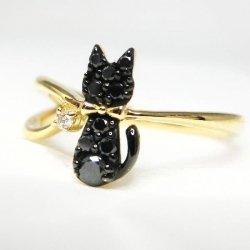 黒猫 ブラックダイヤモンド ダイヤモンドピンキーリング BLD 0.09ct D K18YG C-LINE
