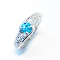 Pt900 ブラジル産 パライバトルマリン ダイヤモンドリング PA 0.378ct D 0.40ct 中央宝石研究所鑑別書付き