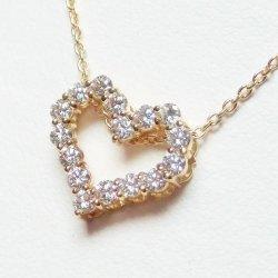 K18YG ハートモチーフダイヤモンドネックレス D 0.80ct 45cm