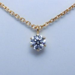 K18YG エクセレントダイヤモンドネックレス D 0.152ct D-VS2-EX 中央宝石研究所ソーティング付