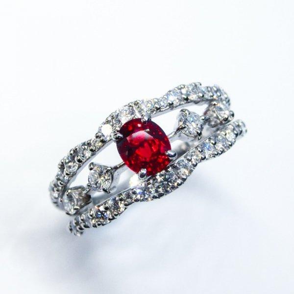 非加熱ピジョンブラッドカラールビー ダイヤモンドリング R 0.66ct D 0.70ct AIGS鑑別書付 Pt900