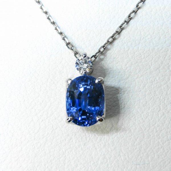 サファイア H&Cダイヤモンドネックレス SA 1.82ct D 0.07ct Pt900 45cm
