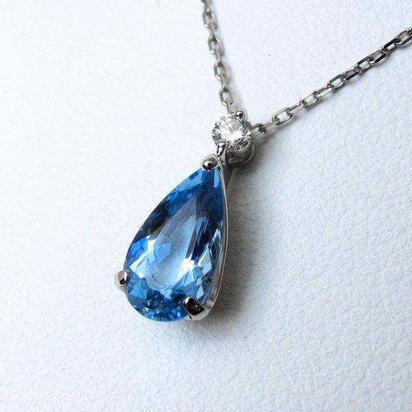 サンタマリアアクアマリン ダイヤモンドネックレス AQ 1.26ct D 0.06ct 45cm Pt900