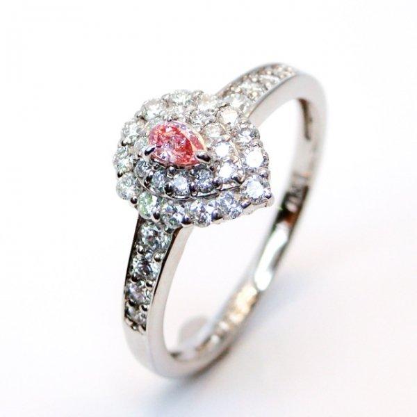 ピンクダイヤモンドリング PD 0.062ct D 0.37ct Fancy-Pink-SI1 中央宝石研究所ソーティング付 Pt900