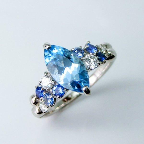 サンタマリアアクアマリン ダイヤモンド サファイアリング AQ 0.96ct D 0.21ct SA 0.23ct Pt900
