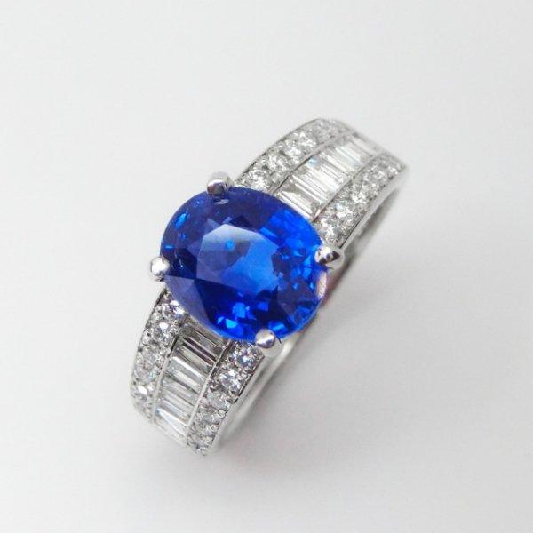 スリランカ産サファイア ダイヤモンドリング SA 2.25ct D 0.46ct Pt900 AIGS鑑別書付