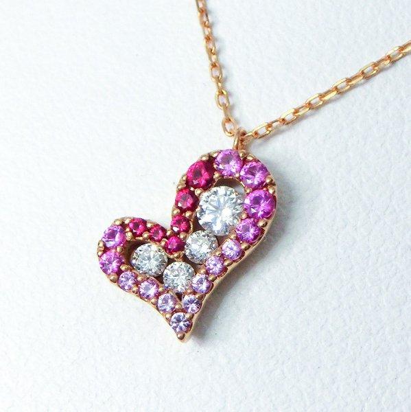 ルビー ダイヤモンド ピンクサファイア ハートモチーフネックレス R 0.05ct D 0.15ct PS 0.13ct 45cm K18PG