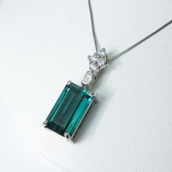 ブルーグリーントルマリン ダイヤモンドネックレス TR 5.33ct D 0.23ct 45cm Pt900