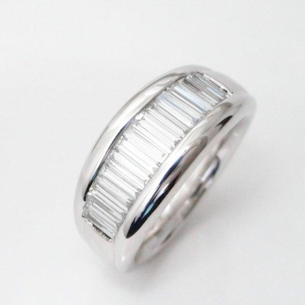 ロングテーパーバゲットダイヤモンドバンドリング D 1.00ct K18WG