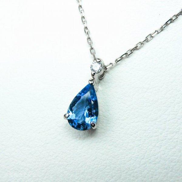 サンタマリアアクアマリン ダイヤモンドネックレス AQ 0.575ct D 0.03ct 40cm Pt900