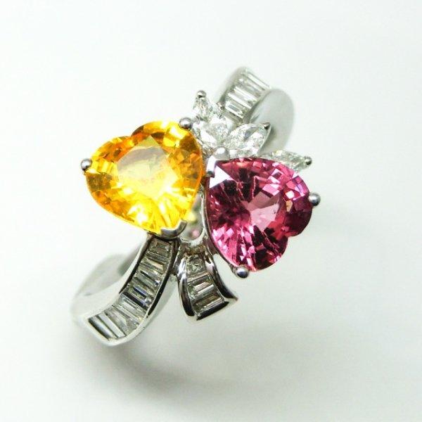 ハートシェイプサファイア ダイヤモンド トワイモアリング SA 2.78ct D 0.16ct D 0.49ct K18WG