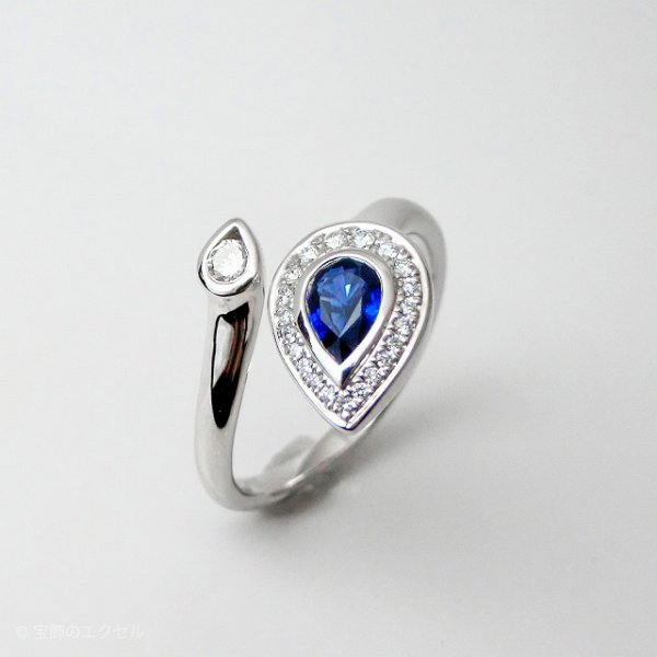 ペアシェイプサファイア ダイヤモンドリング SA 0.41ct D 0.15ct K18WG