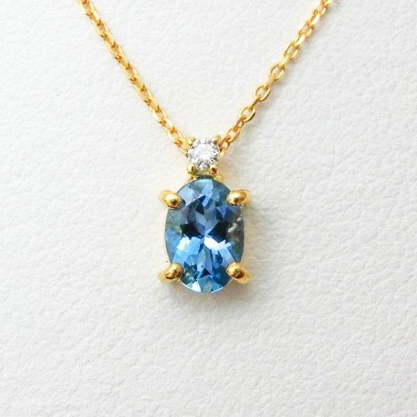 サンタマリアアクアマリン ダイヤモンドネックレス AQ 0.52ct D 0.03ct 45cm K18YG