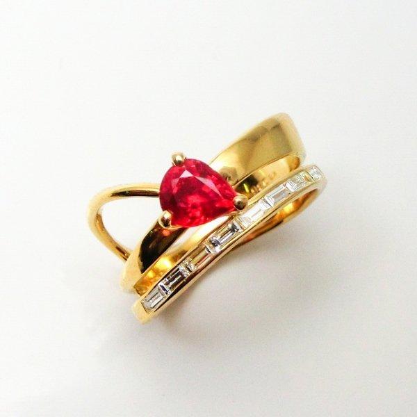 非加熱ピジョンブラッドカラールビー ダイヤモンドリング R 0.86ct D 0.23ct K18YG C-LINE 日独宝石研究所鑑別書付