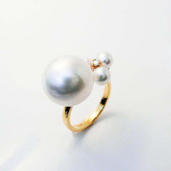 南洋白蝶真珠 あこや真珠 ダイヤモンドリング P 12.9mm  P 4.0-4.5mm D 0.03ct K18YG C-LINE