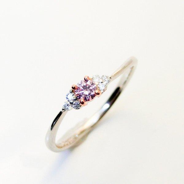 ファンシーピンクダイヤモンドリング D 0.084ct D 0.05ct FP-SI2 Pt900/K18PG 中央宝石研究所ソーティング付
