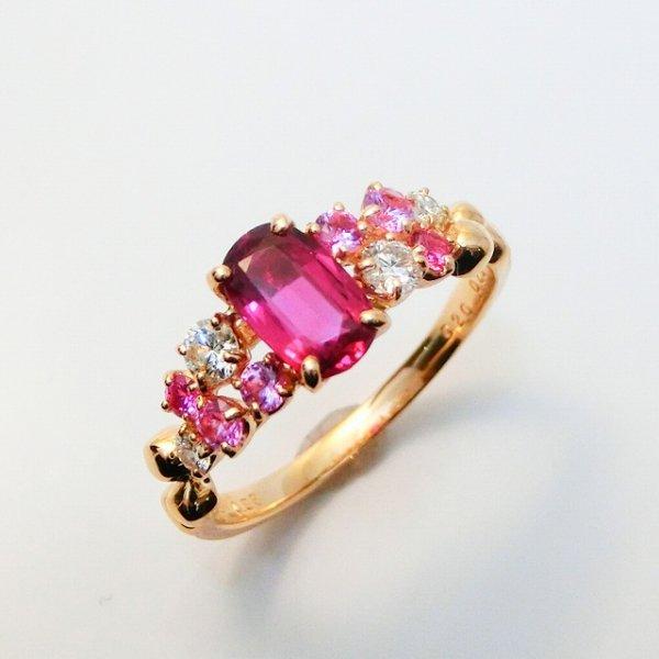 ルビー ダイヤモンド ピンクサファイアリング R 0.98ct D 0.25ct PS 0.20ct K18YG