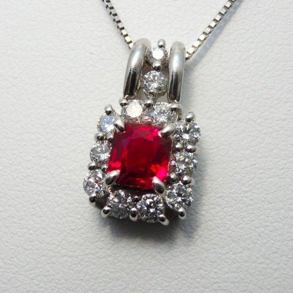 ピジョンブラッドカラールビー ダイヤモンドネックレス R 1.05ct D 0.65ct 45cm Pt900 中央宝石研究所鑑別書付