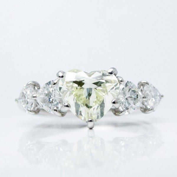 ハートシェイプダイヤモンドリング D 1.01ct LY-SI1 D 0.70ct Pt900 中央宝石研究所ソーティング付